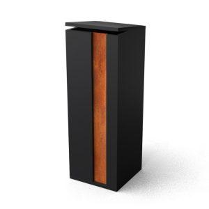 Geroba Geroba pakketbrievenbus Collu - Combo zwart/cortenstaal