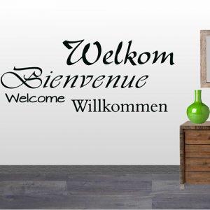Tekststicker Welkom (woordenbrei)